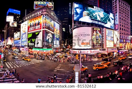 NEW YORK CITY - JULY 1: Panoramic shot of Times Square, featured with Broadway Theaters and animated LED signs, is a symbol of New York City, July 1, 2011 in Manhattan, New York City.