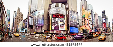 NEW YORK CITY - JULY 3: Panoramic shot of Times Square, featured with Broadway Theaters and animated LED signs, is a symbol of New York, July 3, 2011 in Manhattan, New York City. - stock photo
