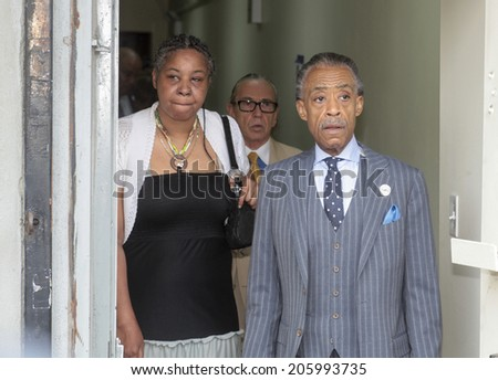 NEW YORK CITY - JULY 19 2014: Reverend Al Sharpton's National Action Network held a rally in its Harlem headquarters demanding justice for the death of Staten Island resident Eric Garner by the NYPD - stock photo