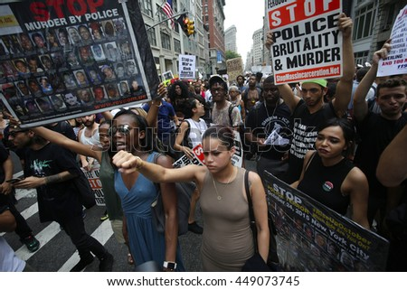NEW YORK CITY - JULY 7 2016: Several thousand activists rallied & marched to protest recent police-involved shootings in Minnesota & Louisiana. - stock photo