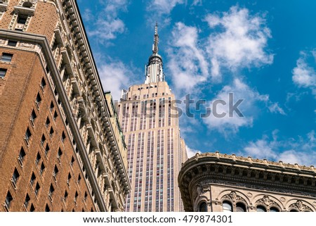 NEW YORK CITY - JULY 15, 2016: The Empire State Building is an American cultural icon. It is designed in Art Deco style and has been named as one of the Seven Wonders of the Modern World.