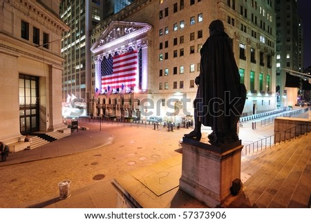 NEW YORK CITY - JULY 16: The intersection of Broad Street and Wall Street showing the George Washington Statue and New York Stock Exchange July 16, 2010 in New York, New York. - stock photo