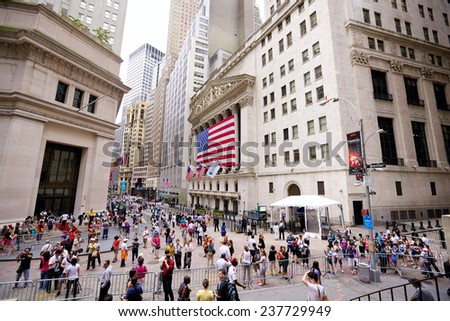 NEW YORK CITY - JULY 04: The intersection of Wall Street and Broad Street including landmark buildings of the New York Stock Exchange at Independence Day on July 04, 2012 in New York, NY, USA. - stock photo