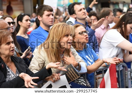 NEW YORK CITY - JULY 22 2015: thousands rallied in Times Square to oppose the President's proposed nuclear deal with Iran. - stock photo