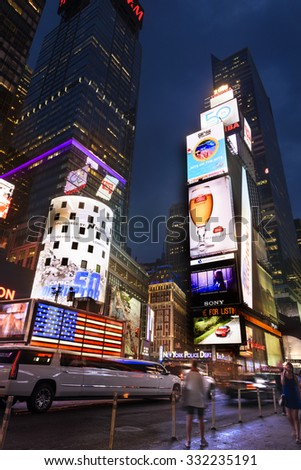NEW YORK CITY -JULY 09: Times Square, featured with Broadway Theaters and animated LED signs, is a symbol of New York City and the United States, July 09, 2015 in Manhattan, New York City. USA. - stock photo