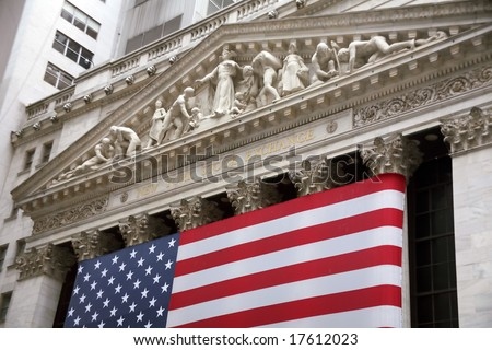NEW YORK CITY, 2008-JUNE-28: Another good day for stock prices in the stock market in Wall Street. - stock photo