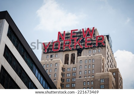 NEW YORK CITY - JUNE 17, 2014: Art Deco Wyndham New Yorker Hotel. Nikola Tesla spent the last ten years of his life there.