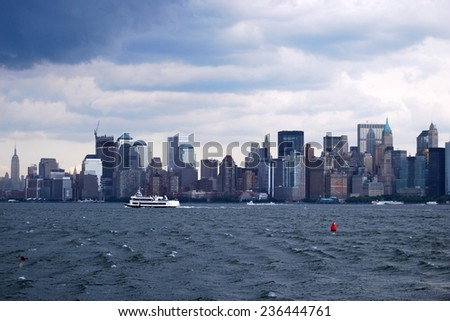 NEW YORK CITY - June 24, 2008: Manhattan Skyline with over Hudson River on June 24, 2008, New York City, USA. - stock photo