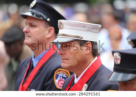 NEW YORK CITY - JUNE 3 2015: mayor Bill de Blasio & FDNY commissioner Daniel Nigro presided over the fire department's medal ceremony in City Hall Plaza.