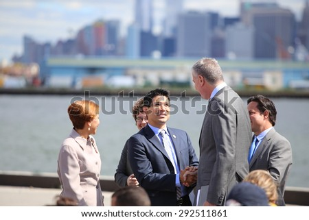 NEW  YORK CITY - JUNE 29 2015: Mayor Bill de Blasio held a press conference at the South Brooklyn Marine Terminal to announce the terminal will become part of America's Marine Highway.