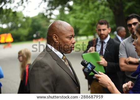 NEW YORK CITY - JUNE 18 2015: Mayor Bill de Blasio held a press conference to announce permanent restrictions on automobiles in Prospect & Central Parks. Brooklyn borough president, Eric Adams