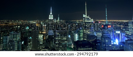 NEW YORK CITY - JUNE 13 2015: New york cityscape at night from Rockfeller Center top of the rock - stock photo