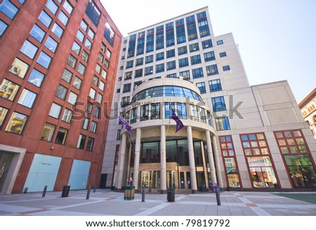 NEW YORK CITY - JUNE 3: New York University's School of Business as viewed on June 3, 2011, NYC. Known as NYU Stern, it was founded in 1900 to provide business training to sons and daughters of immigrants. - stock photo