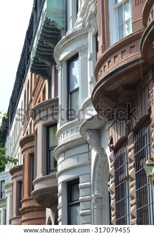 NEW YORK CITY- JUNE 20, 2015: Old buildings in Manhattan, New York City, USA. - stock photo