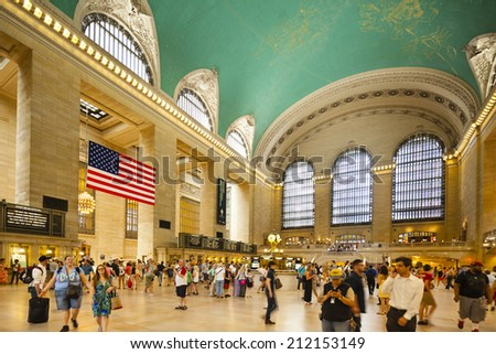 New York City - June 22: People inside Grand Central Station in New York on June 22, 2013