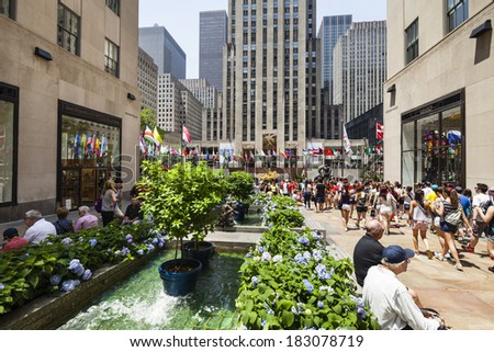 New York City - June 22: Rockefeller Center crowded with tourists in New York on June 22, 2013 - stock photo
