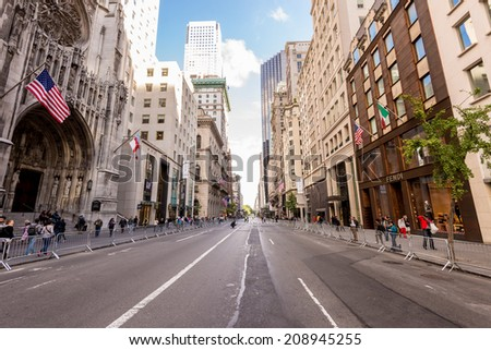 NEW YORK CITY - JUNE 28: Street of New York City on 14th October in New York City. New York metropolitan area, one of the most populous urban agglomerations in the world. - stock photo