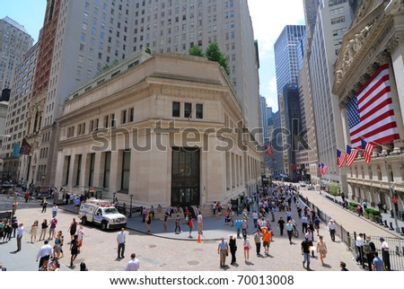 "NEW YORK CITY - JUNE 4: The historic ""House of Morgan,"" an office building formerly owned by J.P. Morgan & Co., near the New York Stock Exchange on Wall Street June 4, 2010 in New York, New York. - stock photo"