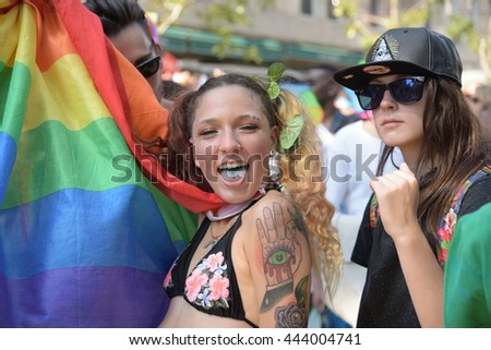 NEW YORK CITY - JUNE 26 2016: The 46th annual NYC Pride March featured over 350 contingents, marching from 36th Street to Christopher & Greenwich Sts.