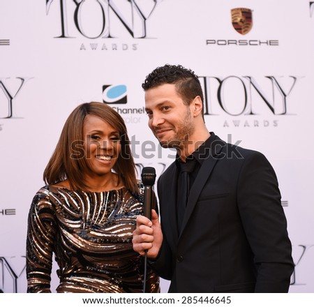 NEW YORK CITY - JUNE 7 2015: the 69th annual Tony Awards ceremony was held at Radio City Music Hall along with a simulcast in Times Square. Justin Guarini & Deborah Cox - stock photo