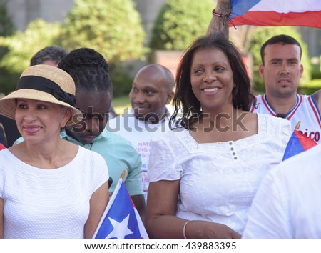 NEW YORK CITY - JUNE 12 2016: thousands filled the streets of Manhattan & Brooklyn to celebrate NYC's 59th annual Puerto Rico Day. Public advocate Letitia James with representative Nydia Velazquez