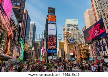 NEW YORK CITY - JUNE 15 2016: Times Square on June 15, 2016 in New York, NY. One of the world's most visited tourist attractions, drawing an estimated 50 million visitors annually. - stock photo