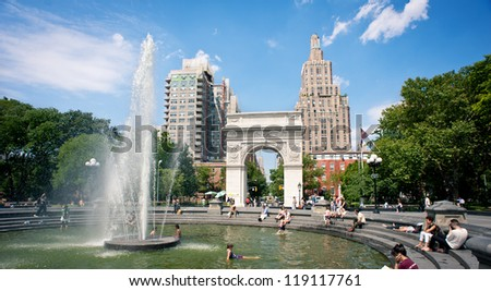 NEW YORK CITY - JUNE 28: Washington Square Park, with 9.75 acres (39,500 m2), it is a landmark in the Manhattan neighborhood of Greenwich Village, seen on June 28, 2012 in New York, NY. - stock photo