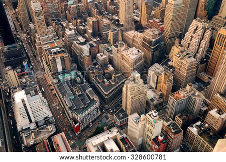New York City Manhattan aerial skyline panorama view with skyscrapers and office buildings on street.  - stock photo