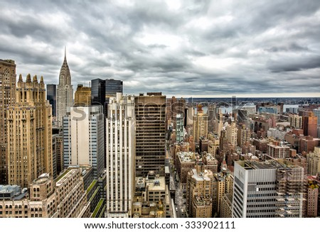 New York City Manhattan aerial view - stock photo