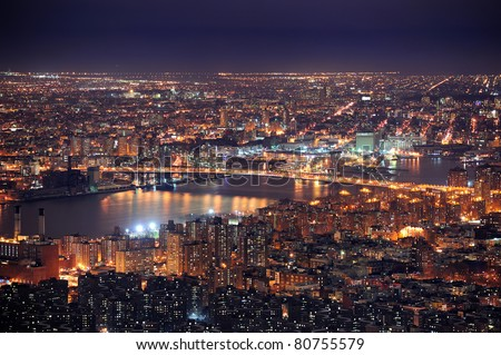 New York City Manhattan aerial view at dusk with urban city skyline and skyscrapers buildings - stock photo