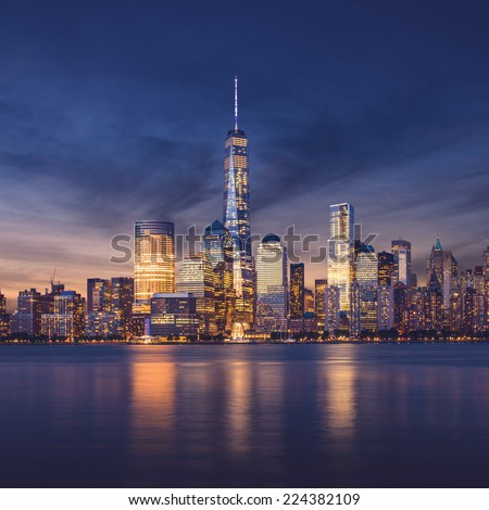New York City - Manhattan after sunset - beautiful cityscape - stock photo