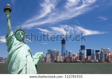 New York City - Manhattan and the Statue of Liberty - stock photo