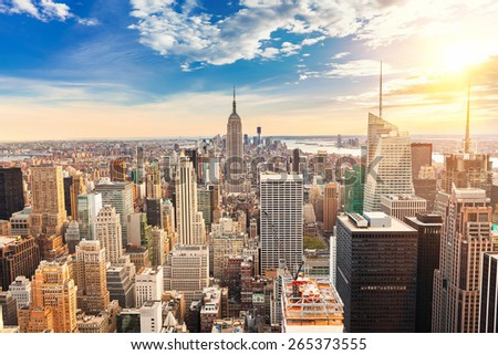 New York City Manhattan at sunset - stock photo