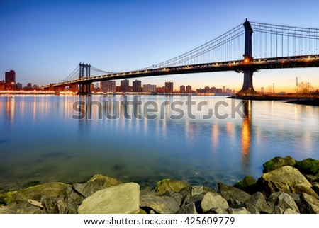 New York City, Manhattan bridge - stock photo