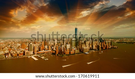 New York City. Manhattan Buildings and Skyline as seen from helicopter - stock photo