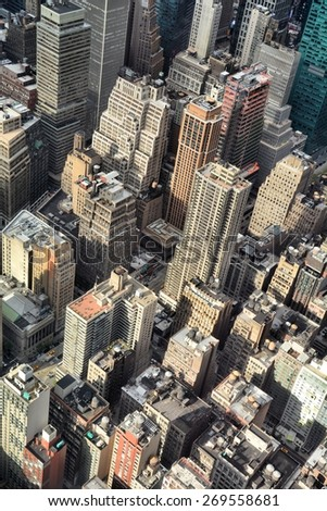 New York City, Manhattan buildings, view from top - stock photo