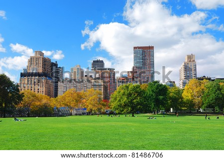 New York City Manhattan Central Park panorama in Autumn with colorful trees and skyscrapers. - stock photo
