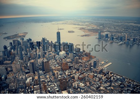 New York City Manhattan downtown aerial view - stock photo