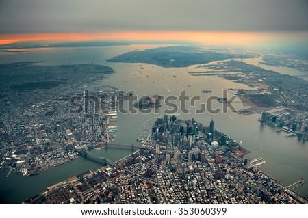 New York City Manhattan downtown aerial view - stock photo