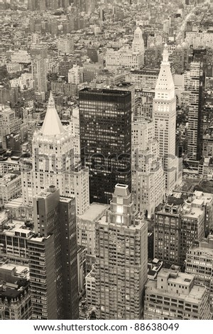New York City Manhattan downtown aerial view at dusk with urban city skyline and skyscrapers buildings in black and white - stock photo