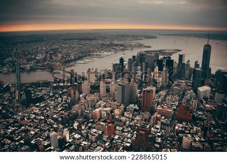 New York City Manhattan downtown aerial view with bridges - stock photo