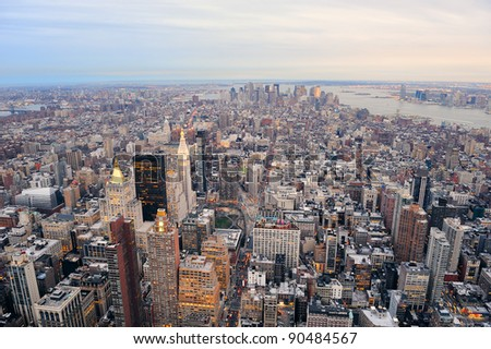 New York City Manhattan downtown aerial view with urban city skyline and skyscrapers buildings. - stock photo