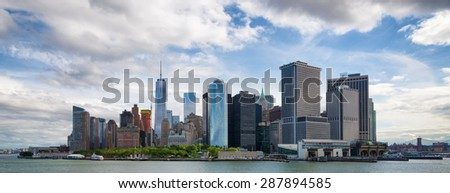 New York City Manhattan downtown skyline panorama with skyscrapers over Hudson River - stock photo