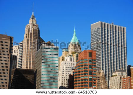 New York City Manhattan historic office skyscrapers at sunset - stock photo