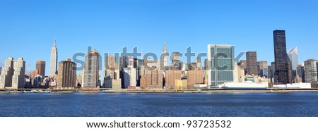 New York City Manhattan midtown skyline over East River - stock photo