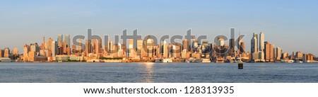 New York City Manhattan midtown skyline panorama at sunset. - stock photo