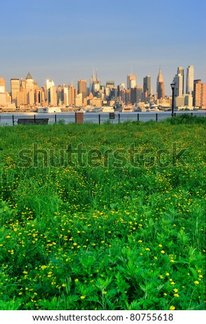 New York City Manhattan midtown skyline view from New Jersey Hudson River waterfront park with green lawn at sunset. - stock photo