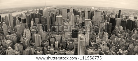 New York City Manhattan panorama aerial view at dusk with urban city skyline and skyscrapers buildings - stock photo