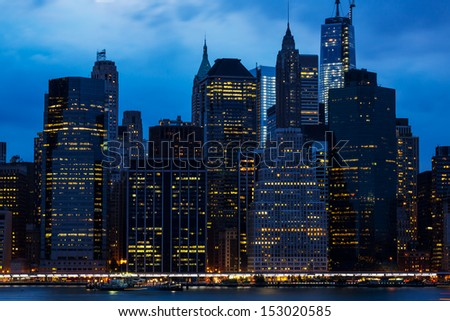 New York City Manhattan panorama at night  - stock photo