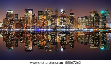 New York City Manhattan panorama skyline at night with reflection - stock photo